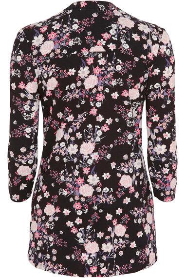Floral Print Pintuck Jersey Top