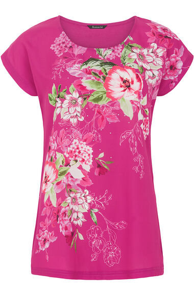 Rose Print Woven Front T-Shirt