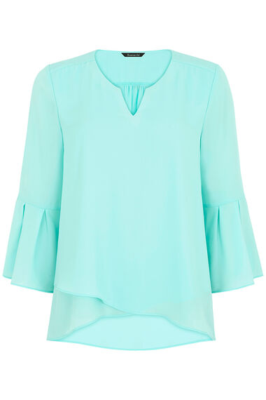 Plain Double Layer Top With Fluted Sleeve