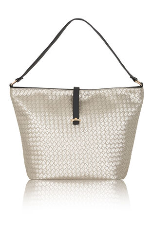 Metallic Basket Weave Tote Bag