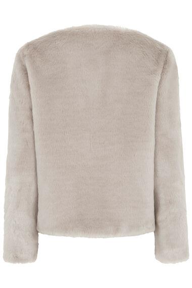 Collarless Faux Fur Jacket
