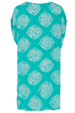 Printed Kaftan with Lace Detail Neckline