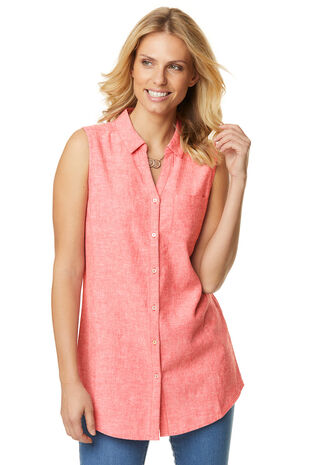 Plain Linen Blend Sleeveless Shirt
