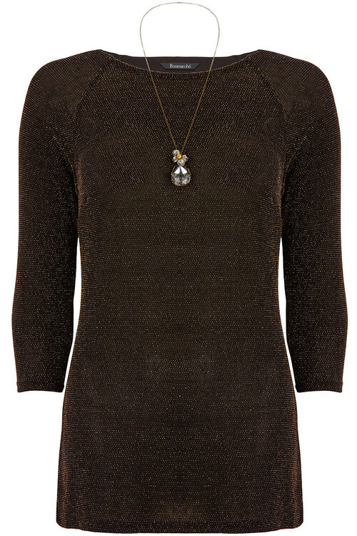 Glitter Knit Tunic With Necklace