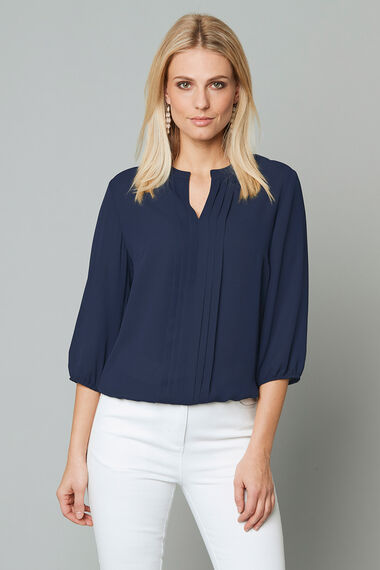 Plain 3/4 Sleeve Pleat Front Blouse