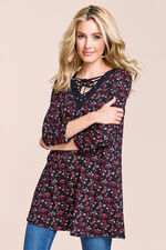 Ditsy Floral Print Tunic With Lace Up Neck
