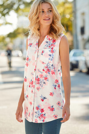 Floral Print Linen Blend Sleeveless Shirt