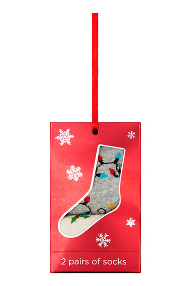 2 Pack Pudding & String Lights Christmas Sock
