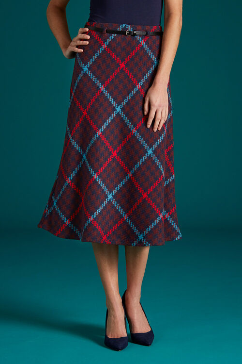 Belted Check Skirt