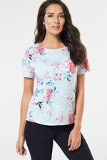 Floral & Stripe Printed Texture Top