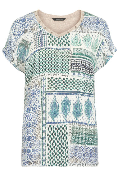 Printed Beaded Front Top