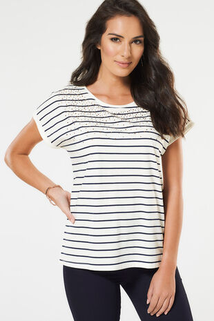 Stripe with Diamantes T-Shirt