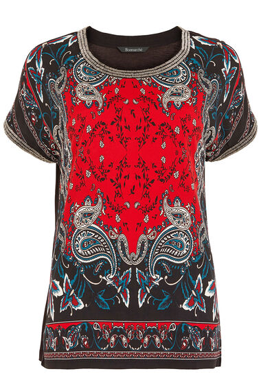 Beaded Print Front Top
