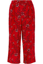 Floral Print Wide Leg Cropped Trousers
