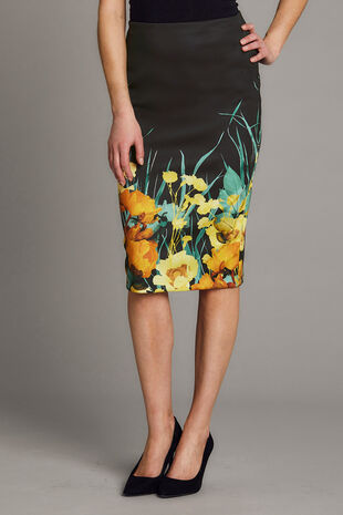 Floral Border Scuba Pencil Skirt