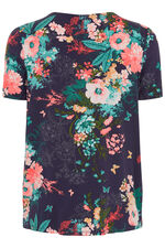 Floral Printed Top With Bubble Hem Detailing