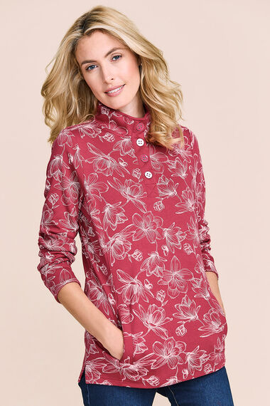 Floral Print Funnel Neck Sweater