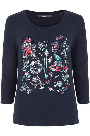 Christmas Placement Print T-Shirt