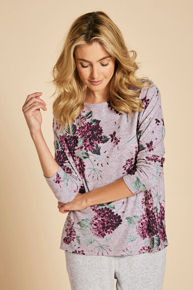 Large Floral Print Crew Neck Sweater
