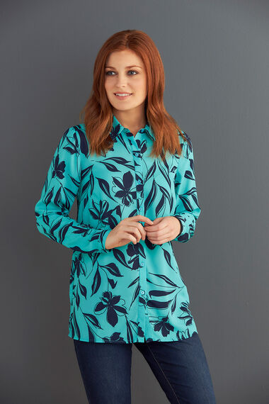 Silhouette Floral Printed Long Sleeve Shirt