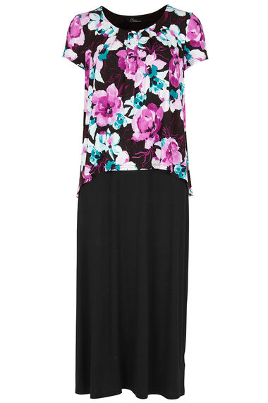 Floral Print Double Layer Jersey Maxi