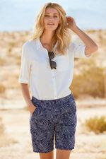 Dotted Palm Linen Blend Shorts