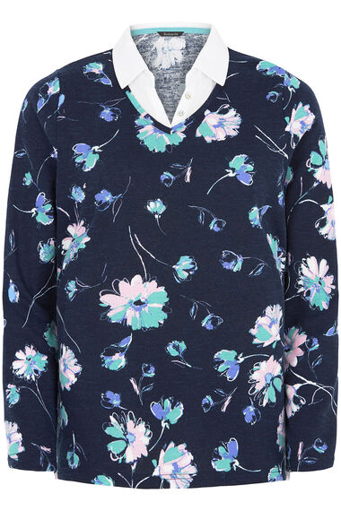 Daisy Print Textured Mock 2 in 1 Sweater