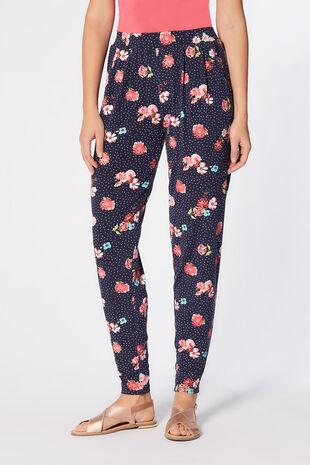 Jersey Daisy Print Harem Trousers