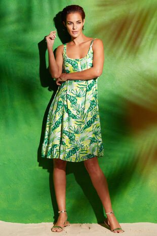 Leaf Print Beach Dress with Frill Hem