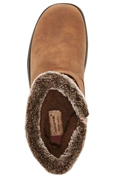 Cushion Walk Calf Length Boot with Faux Fur Trim