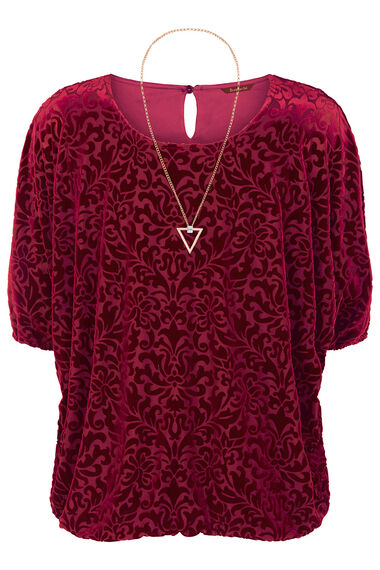 Patterned Velour Bubble Hem Top With Necklace