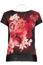 Large Floral Printed Shell Top With Jersey Back And Necklace