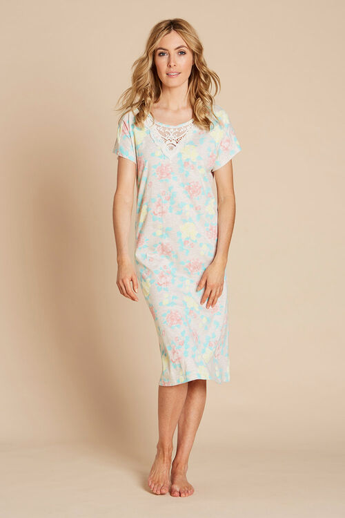 Floral Lace Neck Nightdress