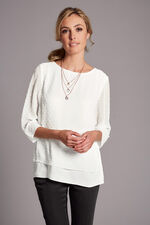 Plain Double Layer Textured Blouse With Necklace