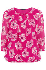 Poppy Print Blouse With Pleat Detail