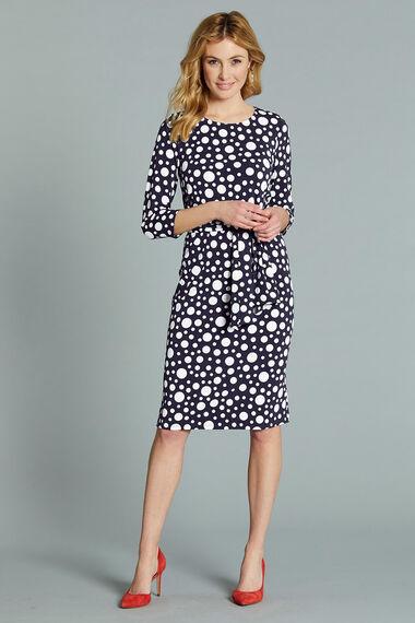 Spot Print Belted Dress