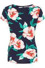 Oversized Poppy Print V Neck Jersey Top