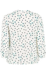 Butterfly Print 3/4 Sleeve Pleat Front Blouse