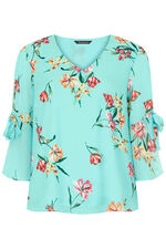 Floral Printed Blouse With Tie Sleeve