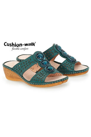 Cushion Walk Slip On Sandal with Decorative Stone Detail