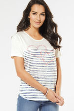 Stripe with Heart Print T-Shirt