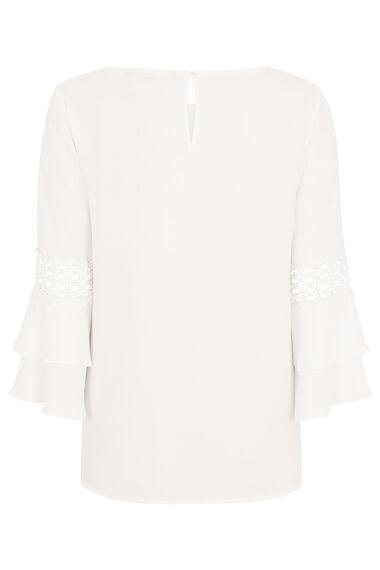 Plain Flute Sleeve Blouse With Lace Trim
