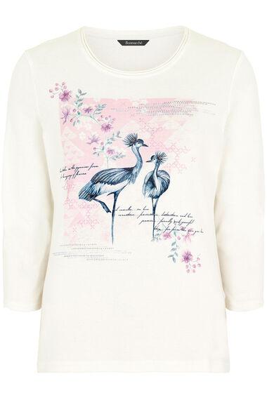Crane Print Scoop Neck T-Shirt