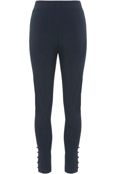 Button Hem Detail Full Length Legging