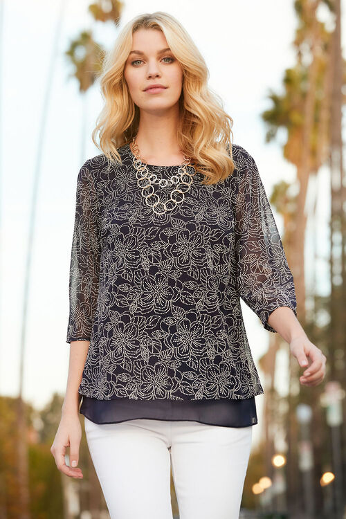Textured Dot Print Double Layer Blouse