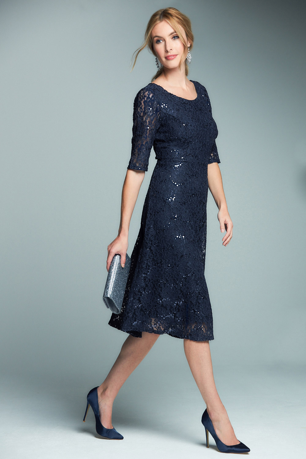 Sleeve Sequin Lace Dress
