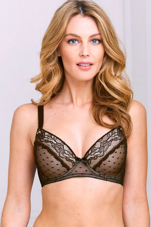 Spot Mesh Underwired Balcony Bra