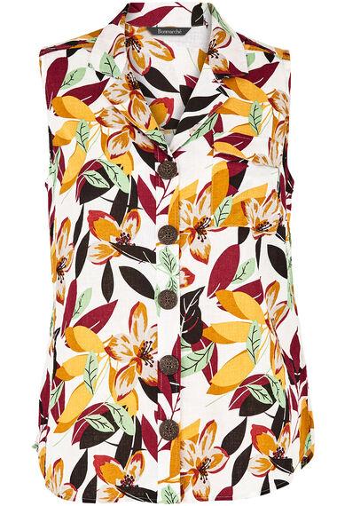 Sleeveless Jungle Print Linen Blend Shirt