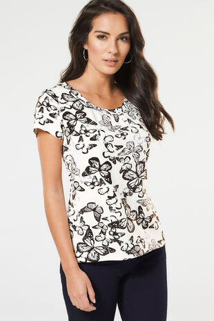 Butterfly Scoop Neck Top