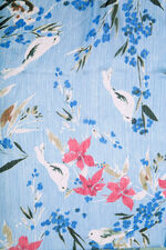 Floral and Bird Printed Chiffon Scarf